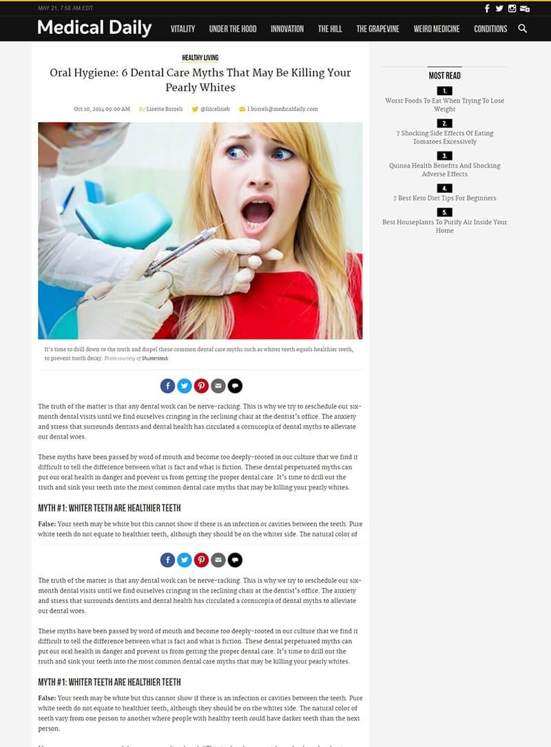 Medical Daily OCT 2014 Oral Hygiene: 6 Dental Care Myths That May Be Killing Your Pearly Whites | Comments by Dr. Matt Nejad Beverly Hills Read more